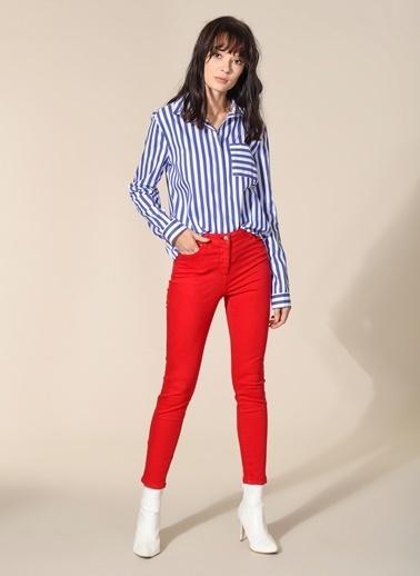 Agenda Yüksek Bel Skinny Pantolon Kırmızı